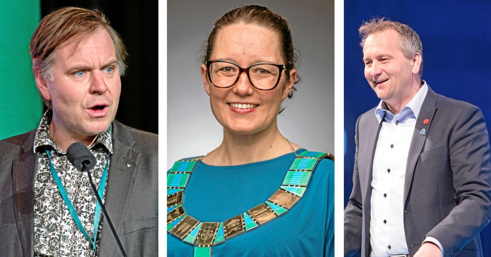 Eid-ordfører Alfred Bjørlo (V), Sørum-ordfører Marianne Grimstad Hansen (H) og Mandal-ordfører Alf Erik Andersen (Frp). Foto: NTB Scanpix / Sørum kommune