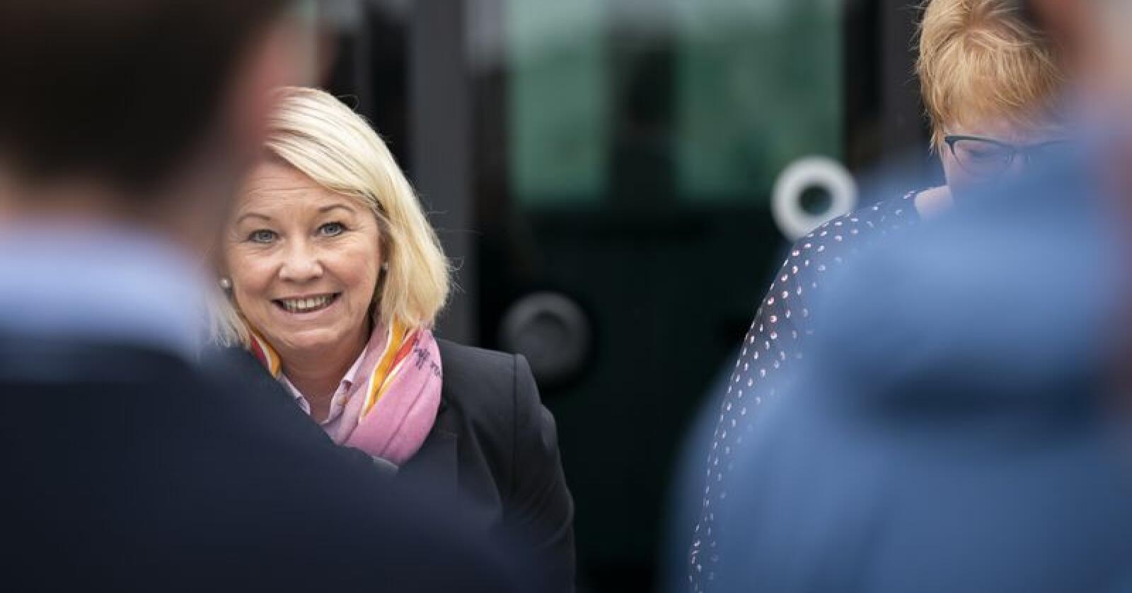 Kommunal- og moderniseringsminister Monica Mæland (H) er nøgd med at mange førehandsstemmer. Foto: Ole Martin Wold / NTB scanpix / NPK