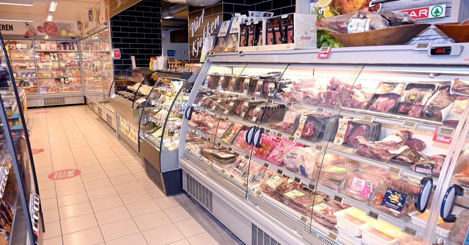 Her et illustrasjonsbilde på en kjøttdisk i en matvarebutikk. Foto: Mariann Tvete