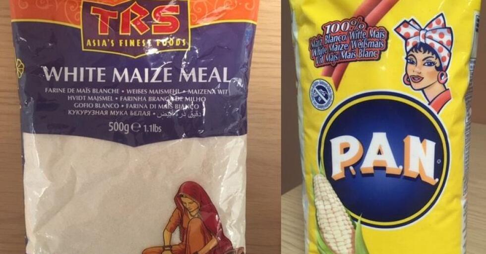 Produktene er merket med at de inneholder genmodifisert maismel, ofte bakpå pakkene der best før-dato og opprinnelsesland påføres, iblant feilmerket som «allergeninformasjon». Foto: Mattilsynet
