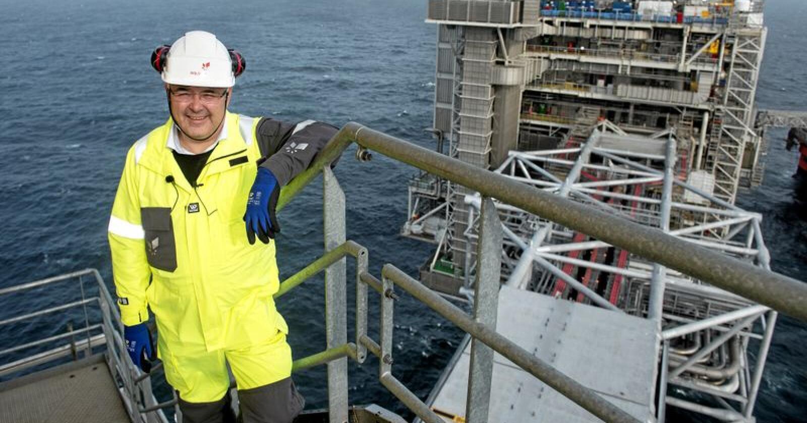 Olje- og energiminister Kjell-Børge Freiberg på Johan Sverdrup, som blir ett av feltene med lavest klimautslipp i verden. Foto: Carina Johansen / NTB Scanpix