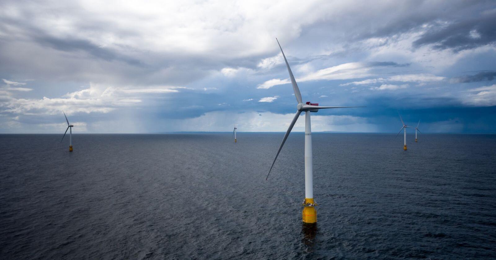 Regjeringa skal satse hardt på havvind. Biletet er frå Equinors Hywind Buchan vindmølleanlegg utanfor Skottland. Foto: Øyvind Gravås / Equinor / NTB / NPK