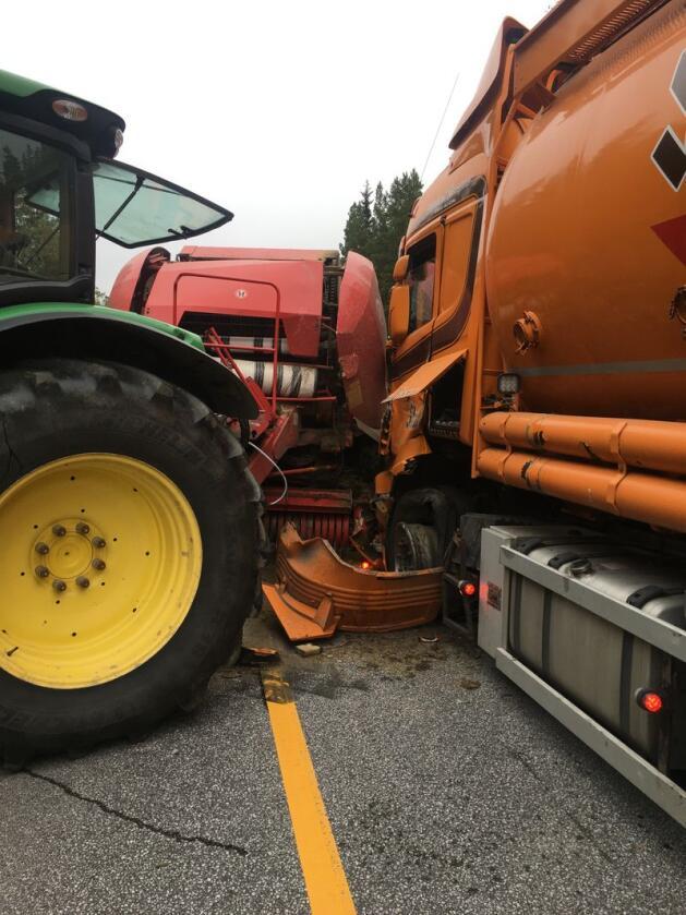 Det gikk bra med alle involverte personer i denne ulykken. Foto: Arne Nytrøen Solvang.