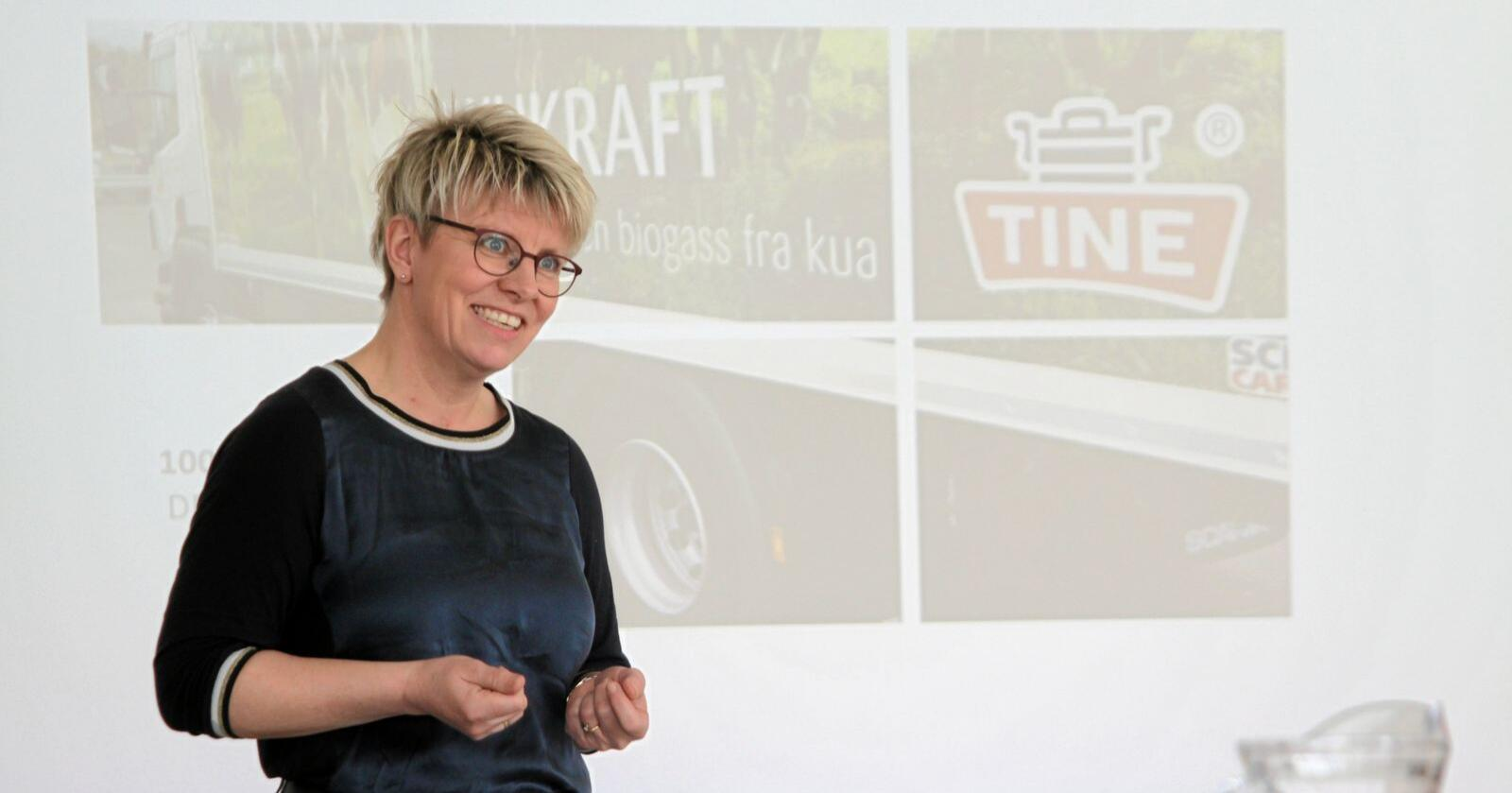 Marit Haugen er styreleder i Tine, som representerer tusenvis av melkebønder i Norge. Foto: Janne Grete Aspen