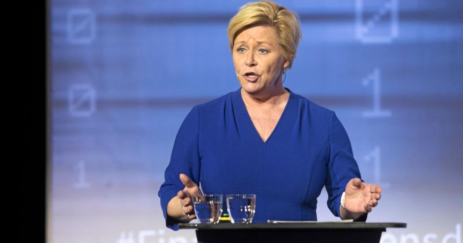 Finansminister Siv Jensen vil bruke mer oljepenger. Foto: Terje Bendiksby / NTB scanpix