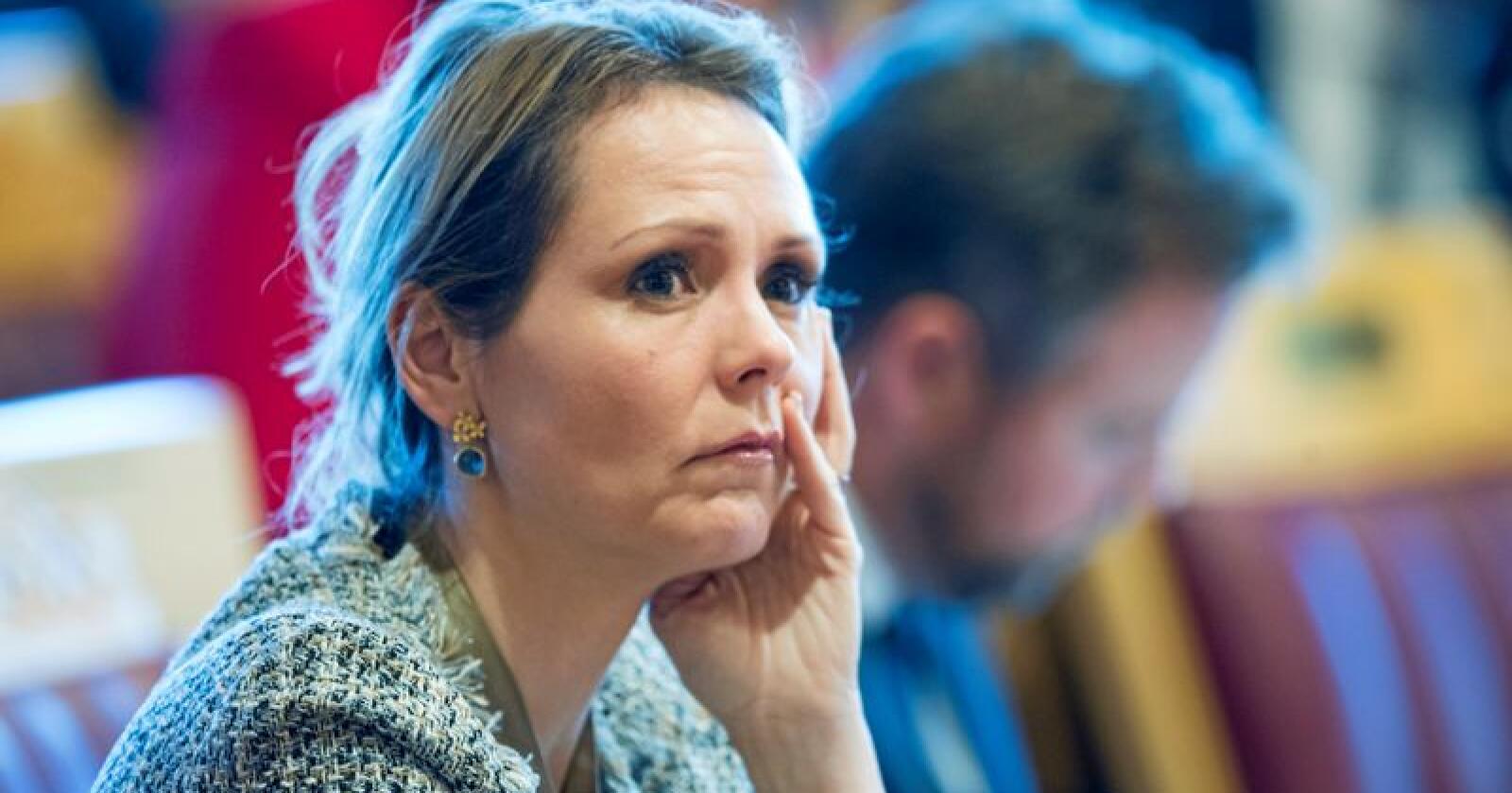 Barne- og likestillingsminister Linda Hofstad Helleland (H) er på vei ut av regjeringen. Det får sinnene til å koke i Trøndelag. Foto: Terje Pedersen / NTB scanpix