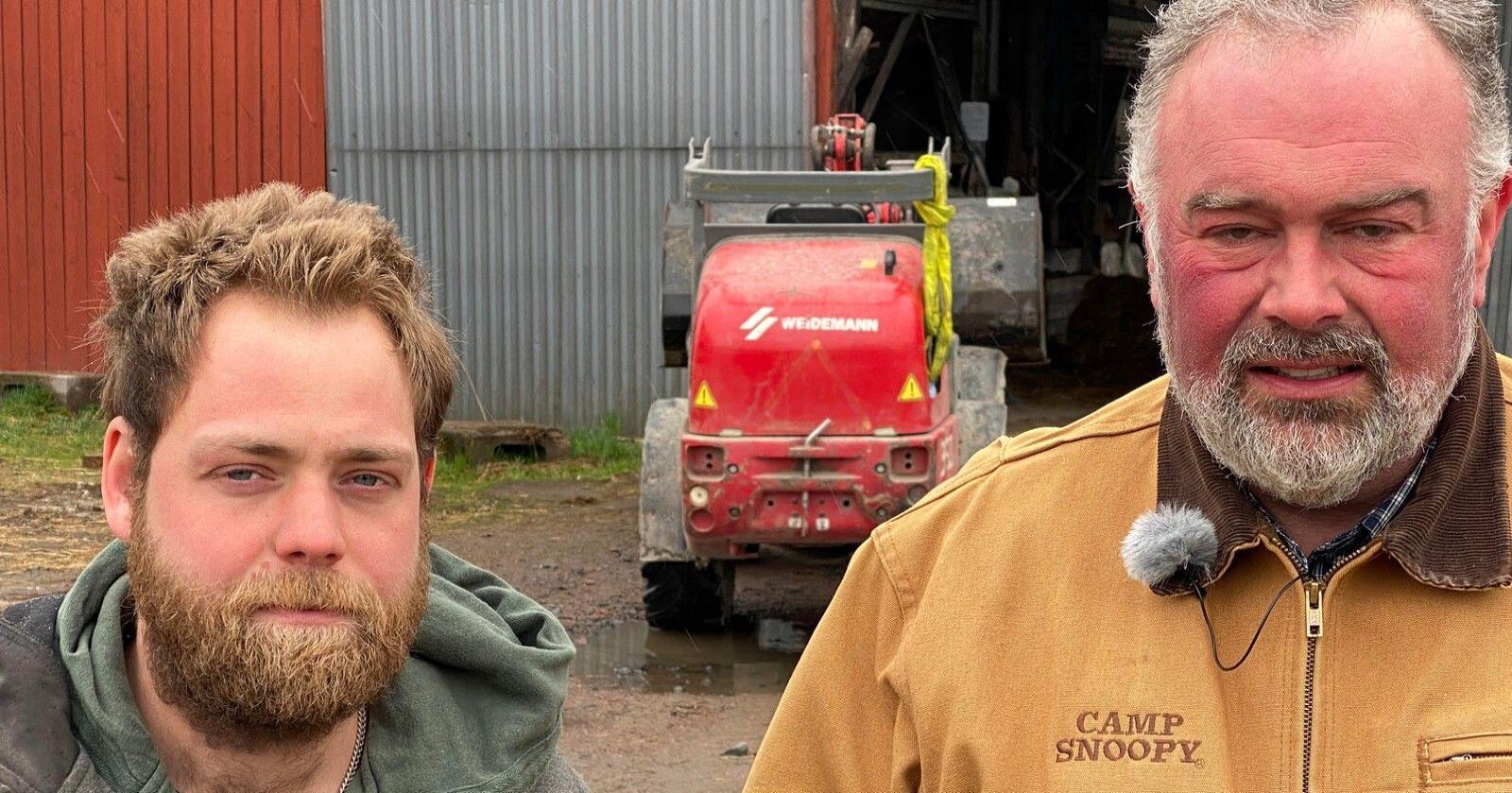 Filip Eliasson og Patrik Olsson er bønder i Sverige. Dei opplever at haldninga til arbeidet dei gjer har endra seg etter korona.