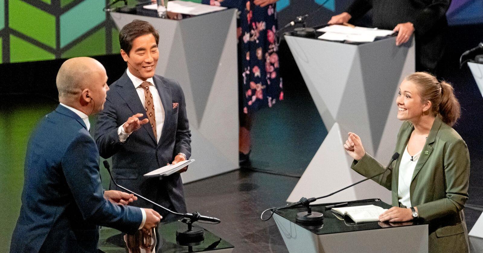 Det bekymrer meg at Sp har meldt seg ut av klimakampen, skriver MDG-leder Une Aina Bastholm. Her i NRK-debatt med Sp-leder Trygve Slagvold Vedum i august. Foto: Tor Erik Schrøder / NTB scanpix