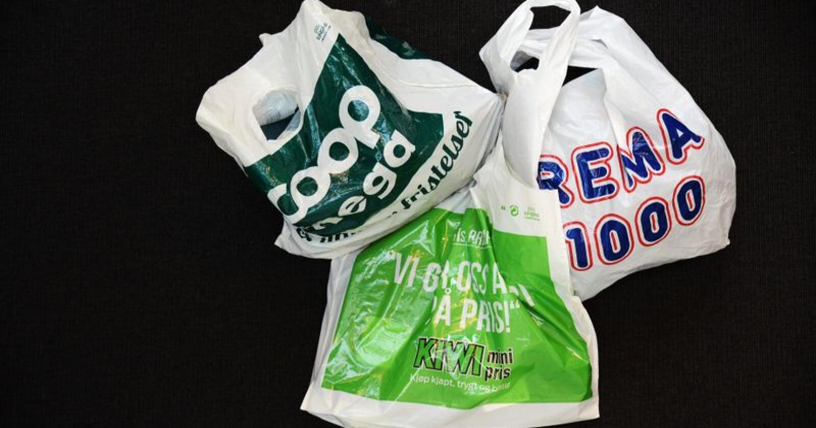 Flere av dagligvarebransjens kjeder opplyser om reduserte salg av plastposer. Foto: Siri Juell Rasmussen
