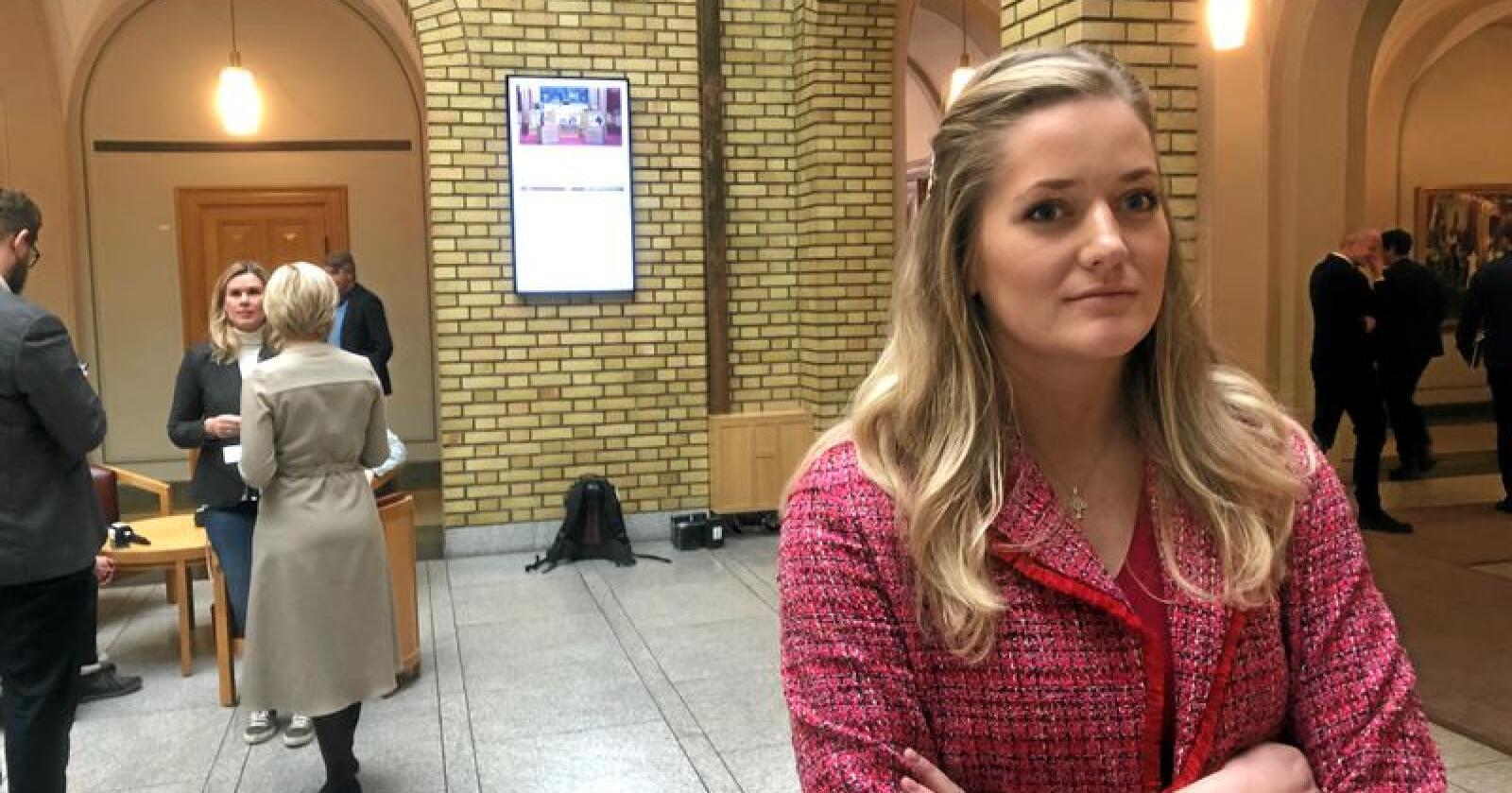 Stortingsrepresentant Emilie Enger Mehl (Sp) mener regjeringen behandler hennes hjemfylke som et ulvereservat. Foto: Sivert Rossing