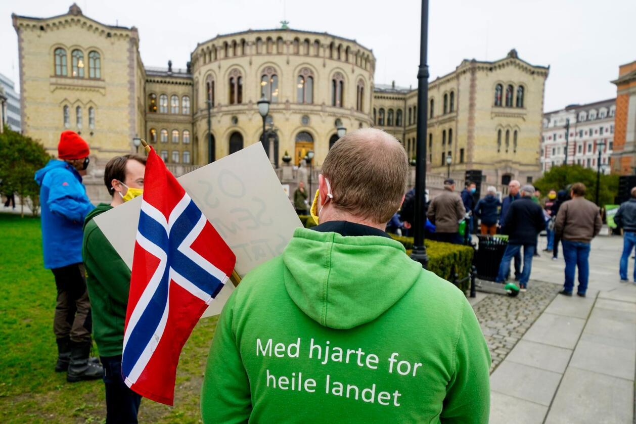 Demonstrerte: Bønder demonstrerte utenfor Stortinget i forbindelse med vårens jordbruksoppgjør. Foto: Terje Pedersen / NTB