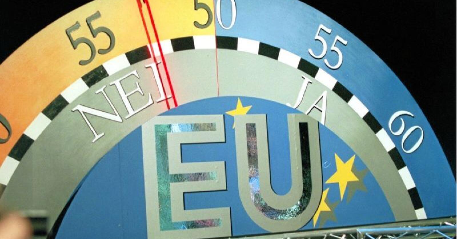 Nei: Det ble et flertall mot norsk medlemsskap i EU under avstemningen 28 november 1994. Foto: Erik Johansen / NTB scanpix