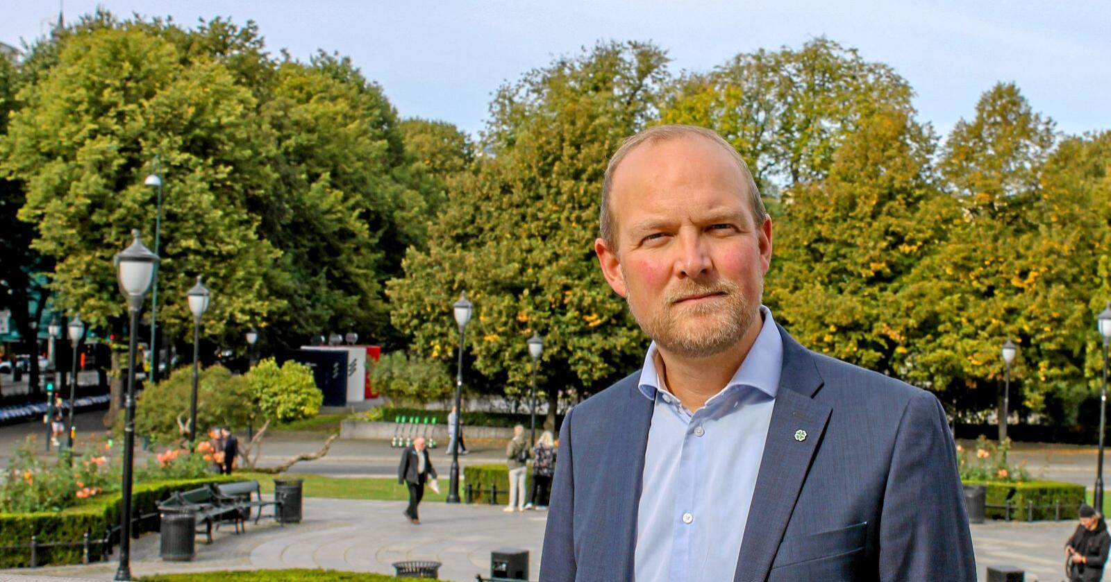 Sps Ole André Myhrvold er bekymret for at opptaket fra norske skoger synker. Foto: Eskild Johansen