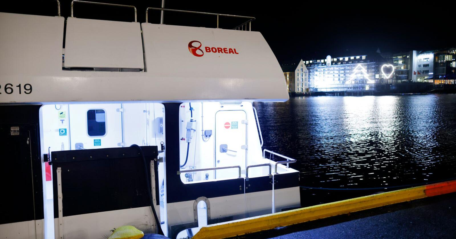 Hurtigbåten Valderøy fra Boreal ligger til kai i Ålesund 16. desemer 2020 etter at rederiet fikk seilingsnekt grunnet alvorlige sikkerhetsbrudd. Foto: Svein Ove Ekornesvåg / NTB