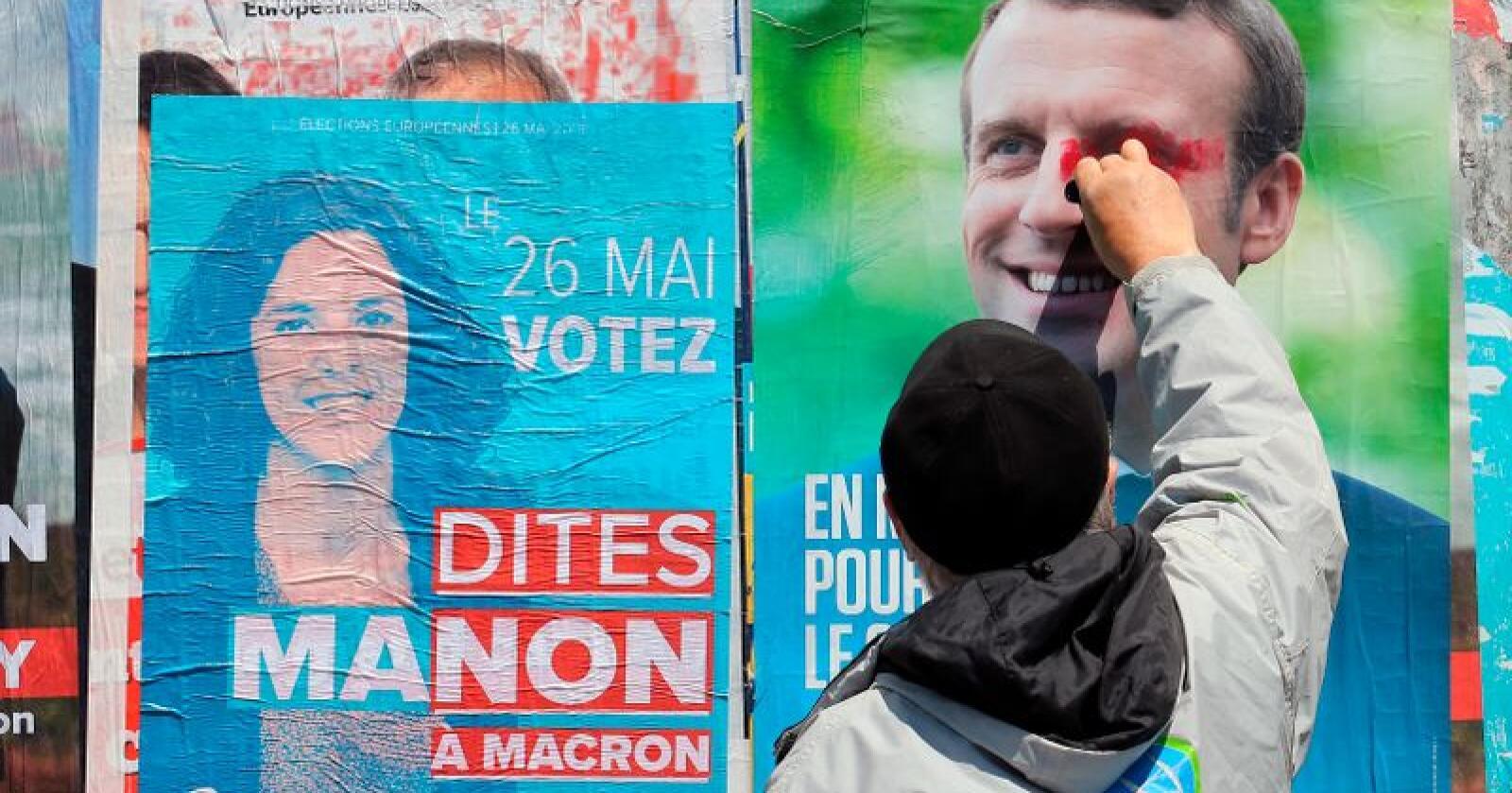 Valgplakater i Frankrike. Valget til nytt EU-parlement løper fra 23. til 26. mai. Foto: Bob Edme / AP / NTB scanpix