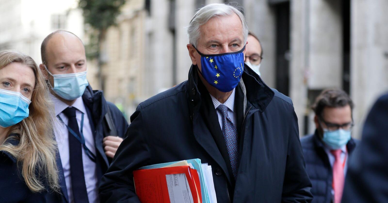 EUs sjefforhandler Michel Barnier har den siste uken vært i London, men skal etter planen tilbake til Brussel torsdag for å fortsette forhandlingene med britene der. Foto: Kirsty Wigglesworth / AP / NTB
