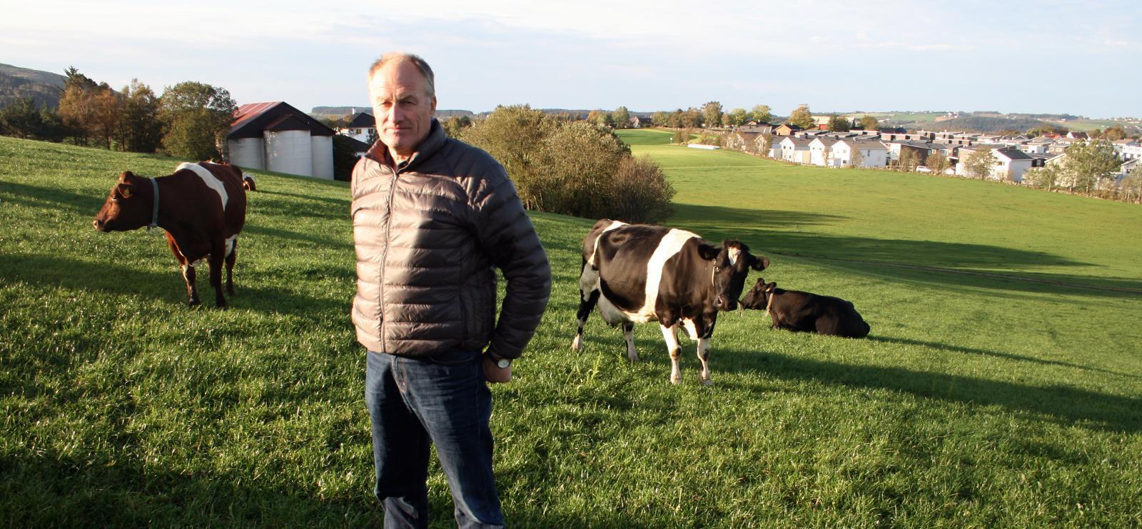 Nedbyggingstruga: Mjølkebonde og tidlegare Tine-styreleiar Jostein Frøyland risikerer å miste 200 mål jordbruksjord til utbyggingsplanen Bybåndet sør på Jæren. Foto: Bjarne Bekkeheien Aase