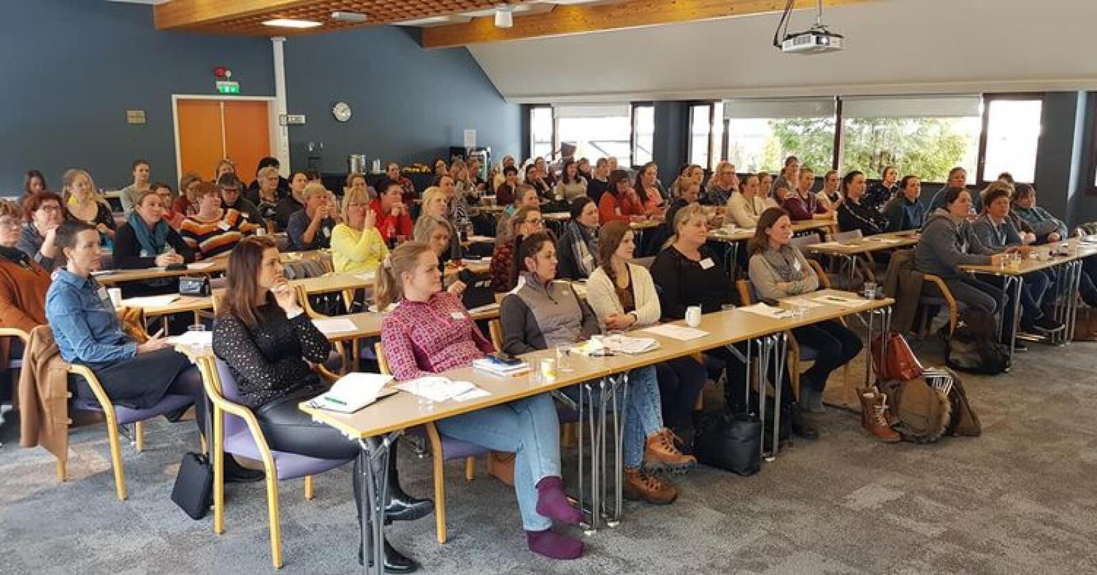 76 damer var samlet på Bø hotell for å lære mer om ammekuproduksjon i helga. Foto: Brit-Ellen Bøhn.