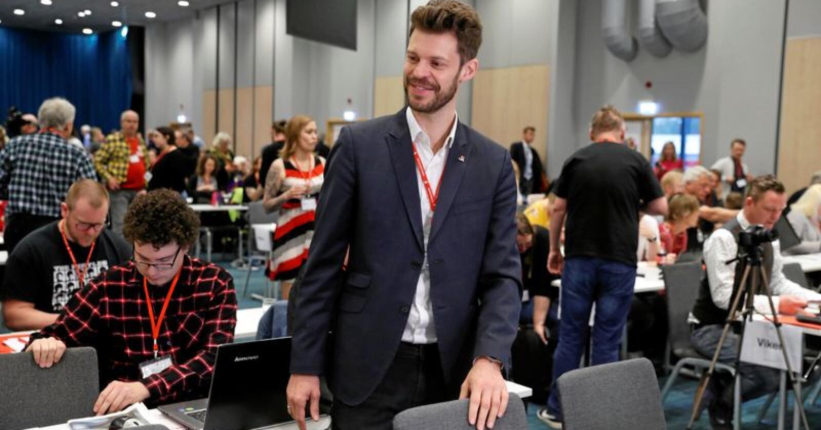 Leder i Rødt, Bjørnar Moxnes,  tar partiet til nye høyder. Foto: Terje Bendiksby/NTB scanpix