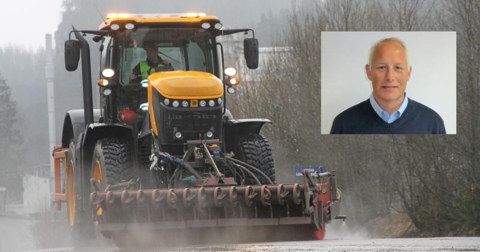Ny mann: Øystein Baraas (innfelt) er ansatt som salgsansvarlig for JCB Agriline i Norge. På bildet vises Feiring Bruks Fastrac 8330 i arbeid med feiing. Foto: Trond Martin Wiersholm/Rosendal Maskin AS