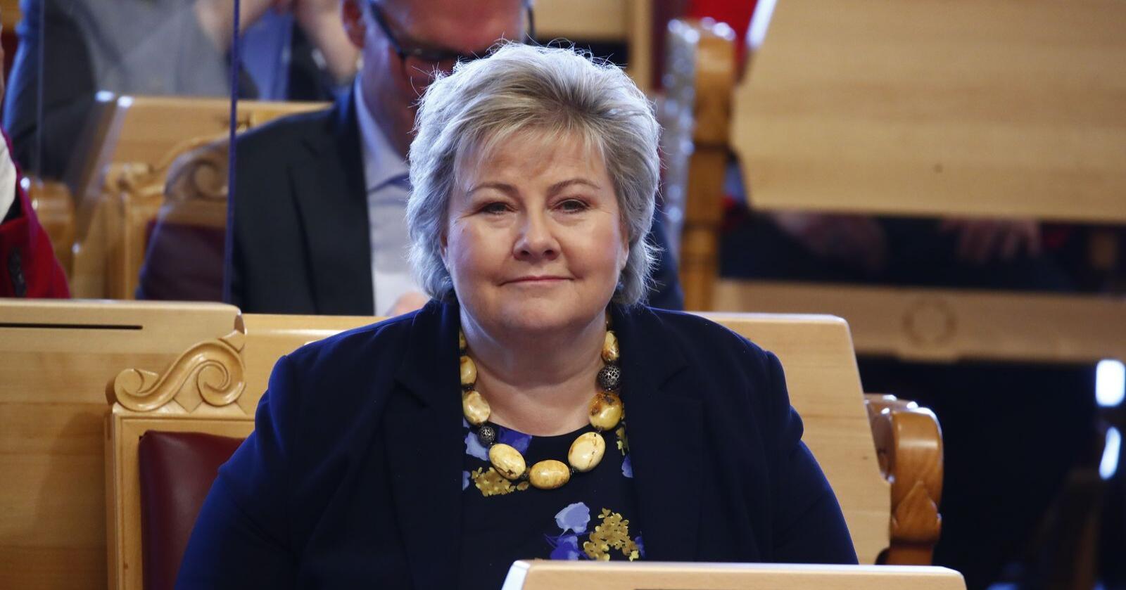 Statsminister Erna Solberg (H) i Stortingets spørretime onsdag. Foto: Terje Pedersen / NTB