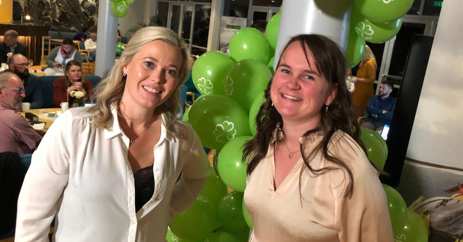 Kjersti Bjørnstad og Marit Knutsdatter Strand på Sps valgvake i Oppland. Foto: Lars Bilit Hagen