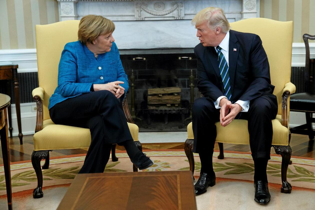Usikker fremtid: Tysklands president Angela Merkel er pådriver for TTIP, mens USAs president Donald Trump er kritisk.Foto: Evan Vucci / AP / NTB scanpix