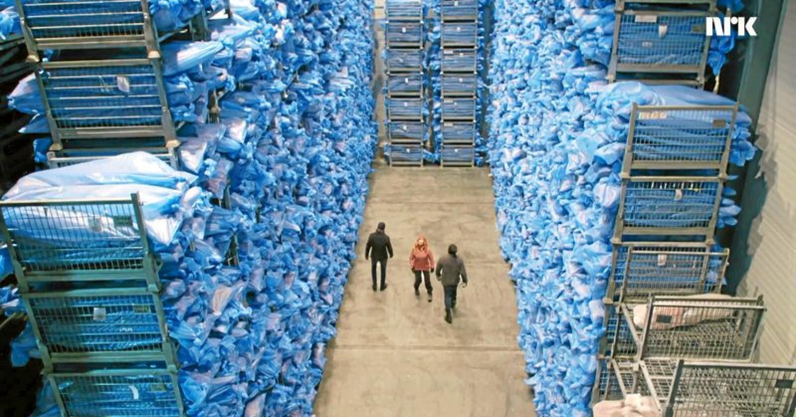 Tusenvis av sauer ligg på Nortura sitt fryselager. Foto: NRK