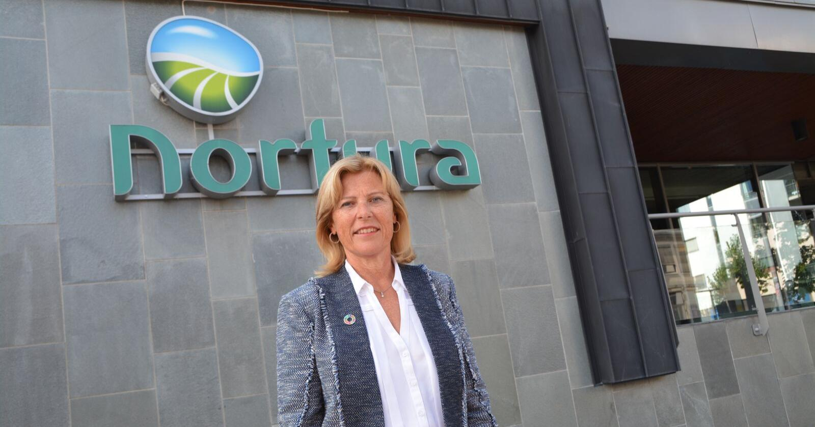 Ser framover: Norturaledelsen, her ved konsernsjef Anne Marit Panengstuen, anser det nye datasystemet for å være selve grunnmuren for Norturas vei videre. Nå jobbes det for fullt med å hente ut positive effekter av systemet.
