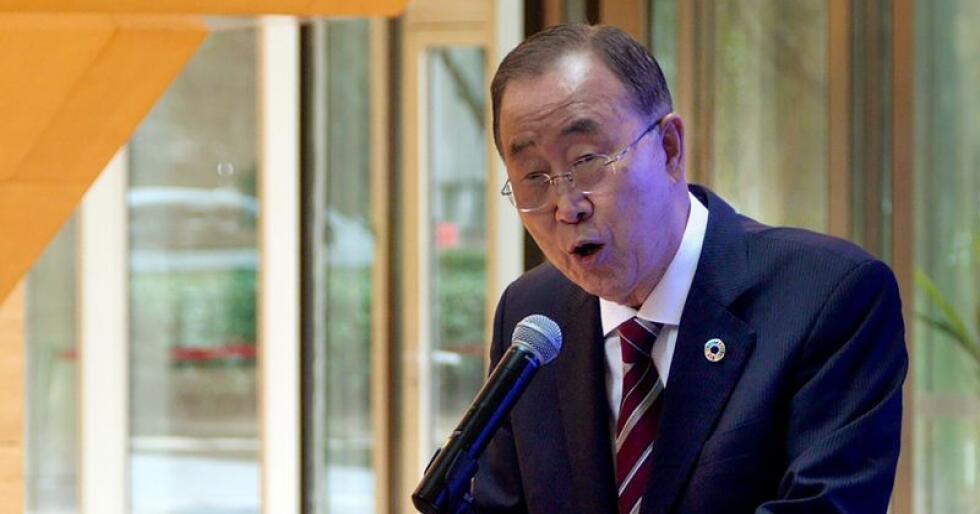 FNs tidligere generalsekretær Ban Ki-moon presenterte tirsdag den nye klimarapporten under en pressekonferanse i Kinas hovedstad Beijing. Foto: Sam McNeil / AP / NTB scanpix