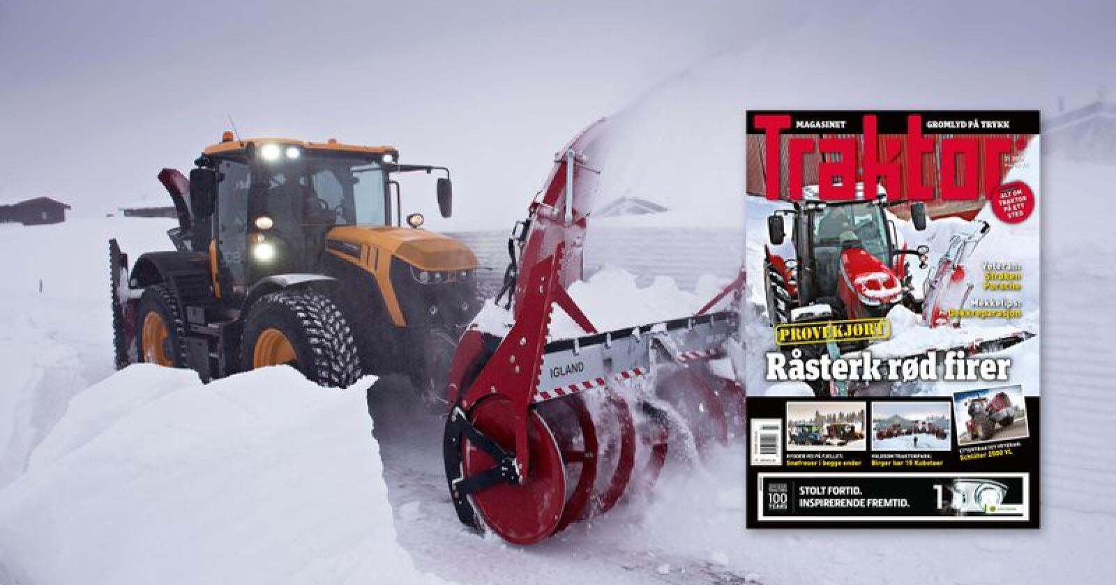 Nytt nummer: Traktor nummer 2 er nå i salg. I dette magasinet kan du blant annet lese om Stig Løkken, som brøyter med sin JCB 4220. Foto: Marcus Pasveer