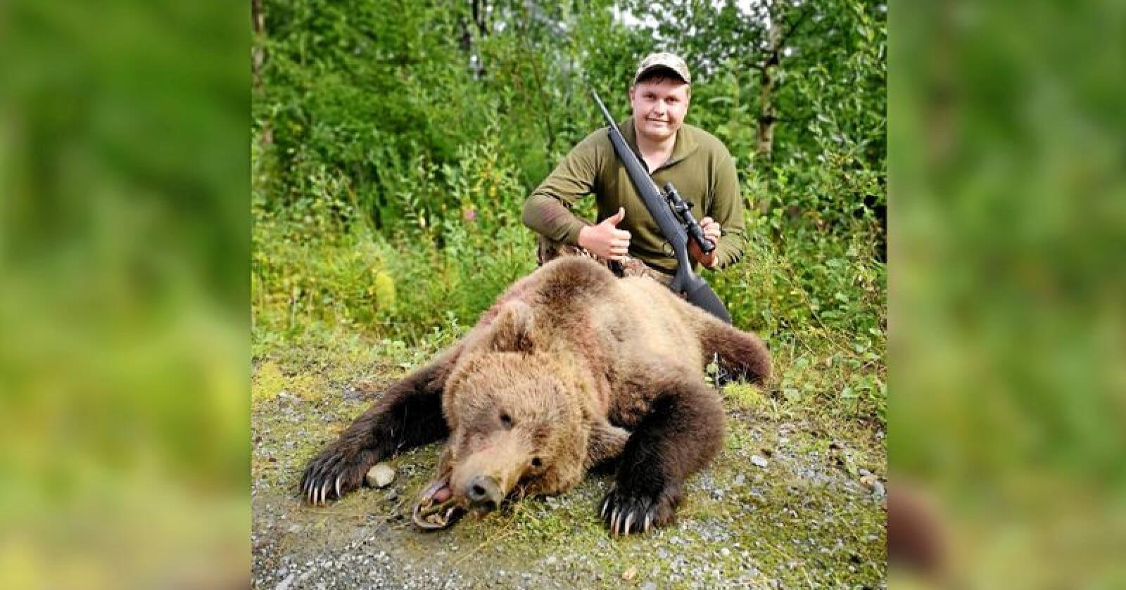Bjørnen Einar Vingelen skjøt veide 62 kilo. Foto: Privat