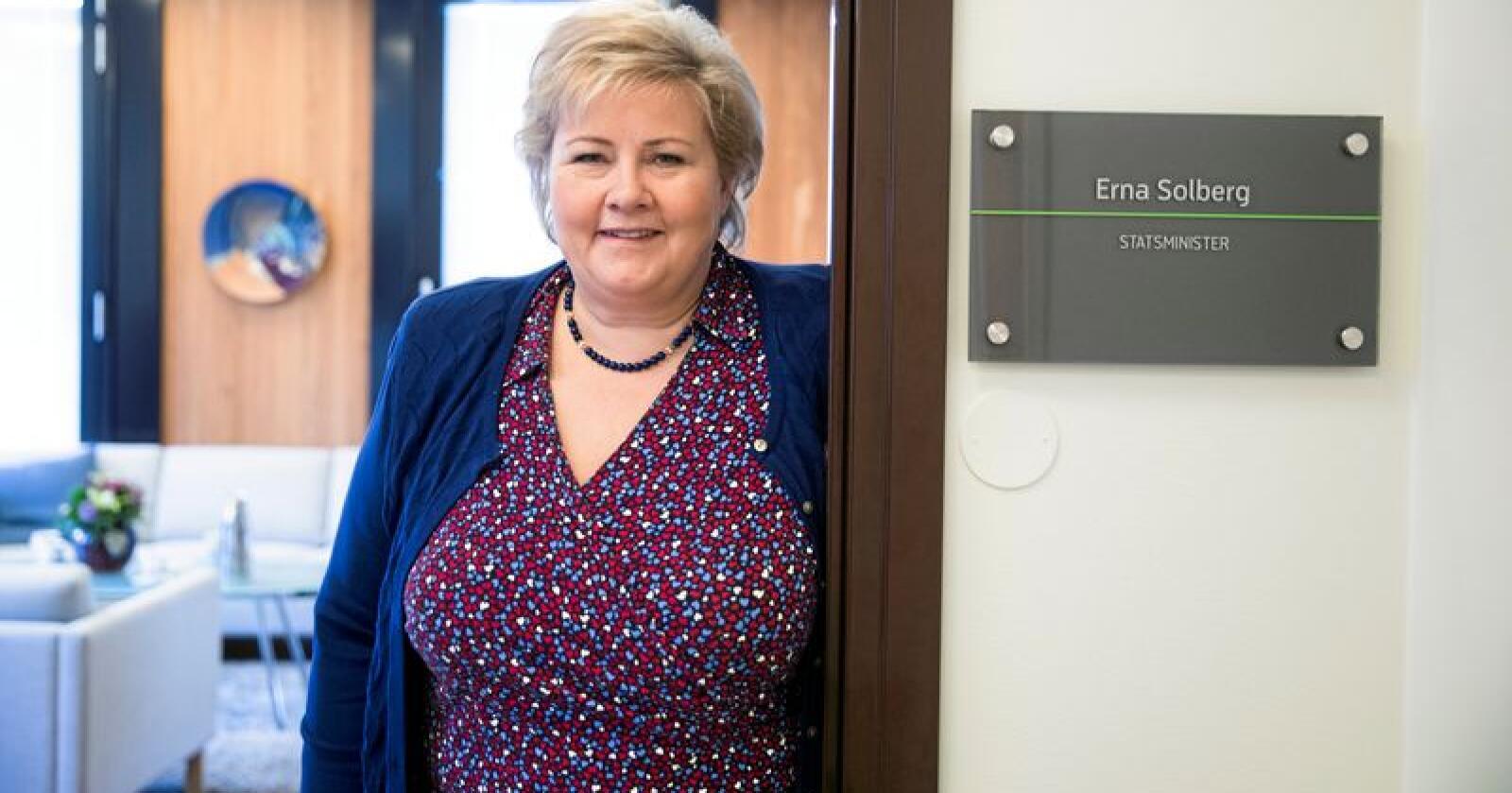 Statsminister Erna Solberg på statsministerens kontor. Foto: Berit Roald / NTB scanpix