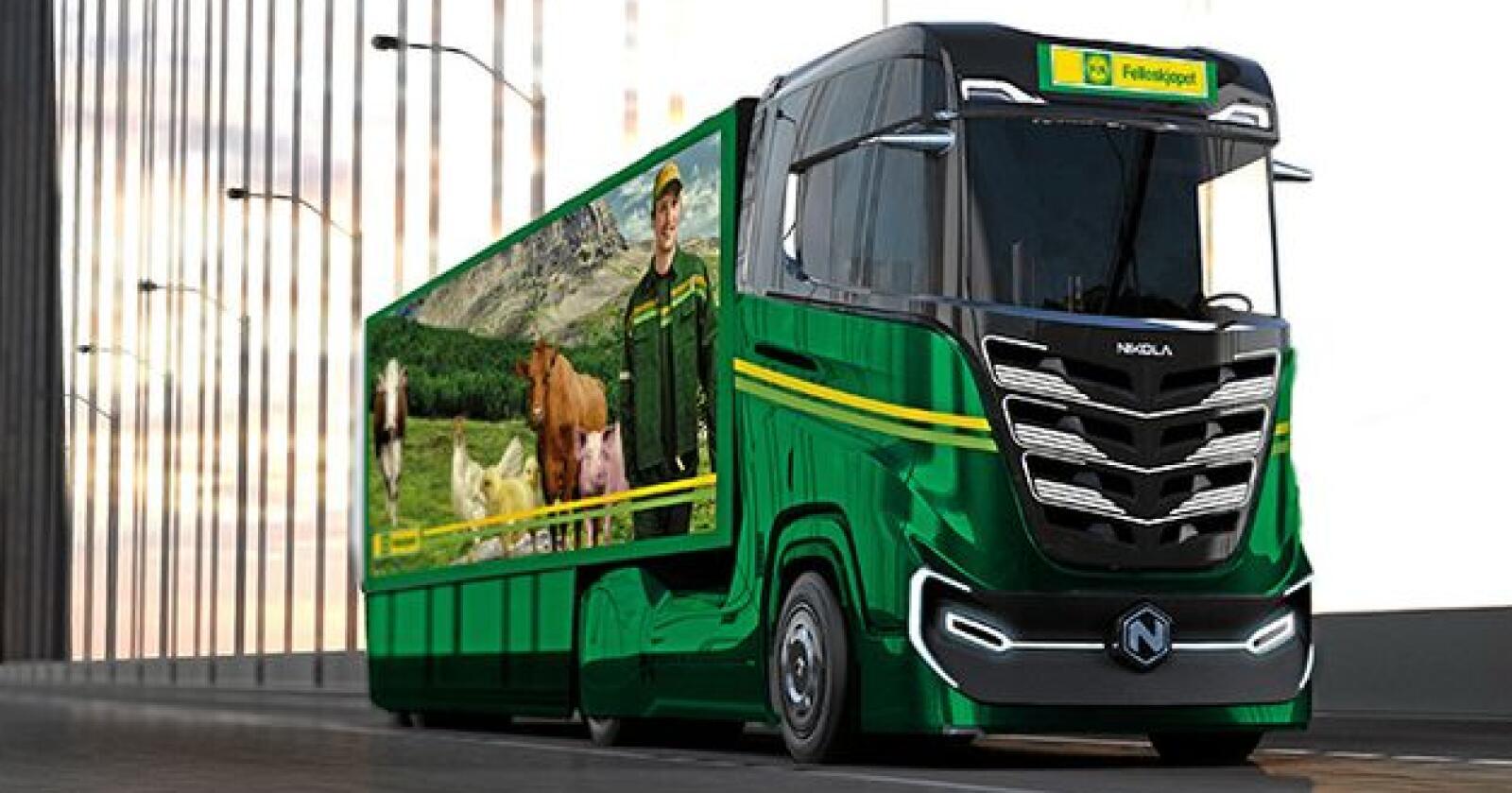 Felleskjøpet har bestilt nye miljøvennlige hydrogen-elektriske lastebiler av merket Nikola Tre. Foto: Felleskjøpet