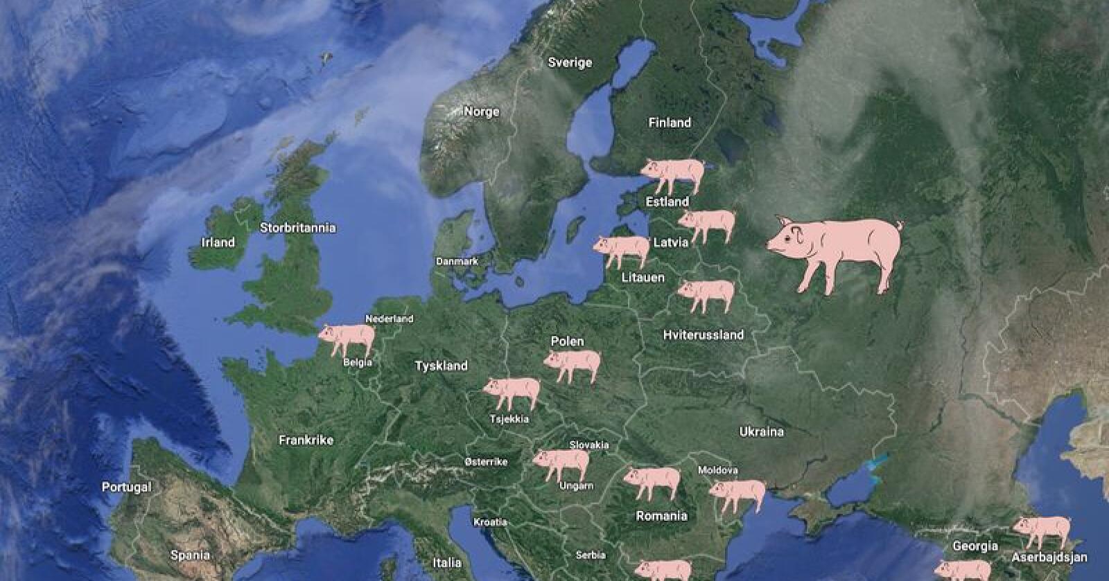 Afrikansk svinepest har kommet til stadig flere land i Europa. Illustrasjon: Google Maps / Bondebladet