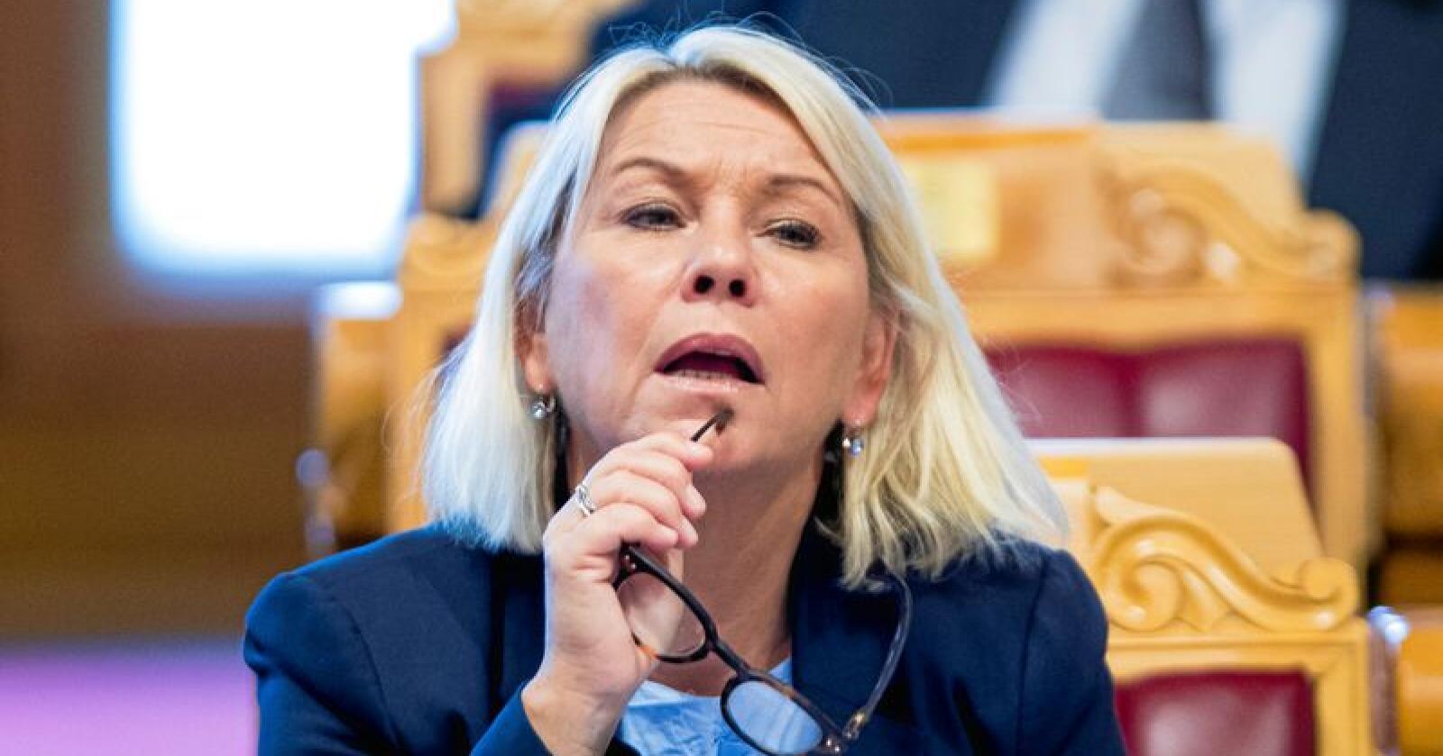 Ansvarlig: Monica Mæland forsøker å «sukre pillen» med dilettanteri.  Foto: Terje Pedersen / NTB scanpix Oslo