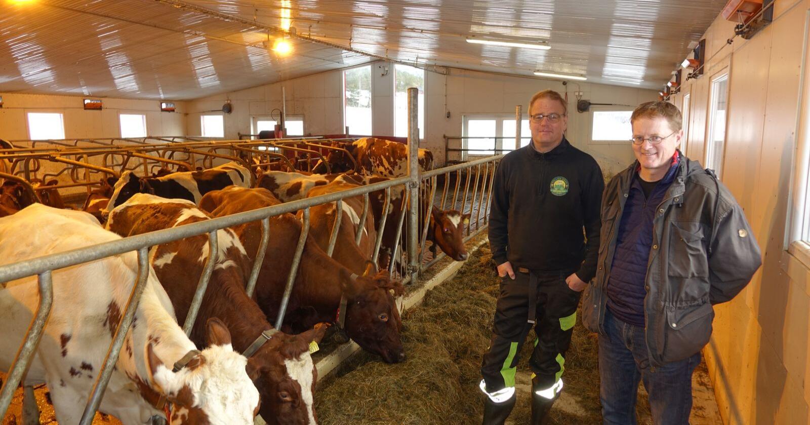 Kombinasjonen lønnsomhet og klimasmart jordbruk er en positiv inngang i klimadebatten mener både bonde Geir Lohn i Alvdal (t.v.) og forsker Ola Flaten i NIBIO. Foto: Jon Schärer.