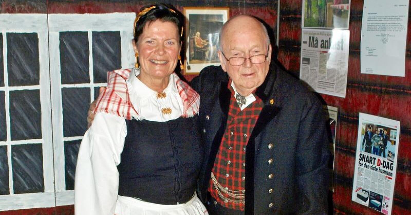 Leder i Norsk Bonde- og Småbrukarlag, Merete Furuberg, med Åge Hovengen. Foto: Privat
