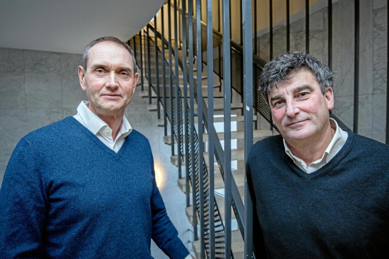 Vil satse: Scandza-eigarane Stig Sunde (t.v.) og Jan Bodd vil investere opp mot ein halv milliard i fullskala meierianlegg på Tolga i Hedmark. Foto: Vidar Sandnes