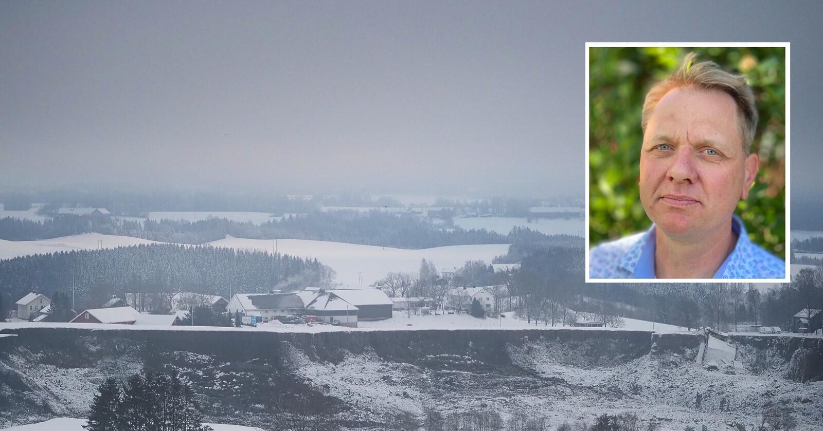 Bildet er tatt mot gården hvor dyr ble evakuert 5. januar. Foto: Siri Juell Rasmussen / Vidar Kapelrud/Akershus Bondelag