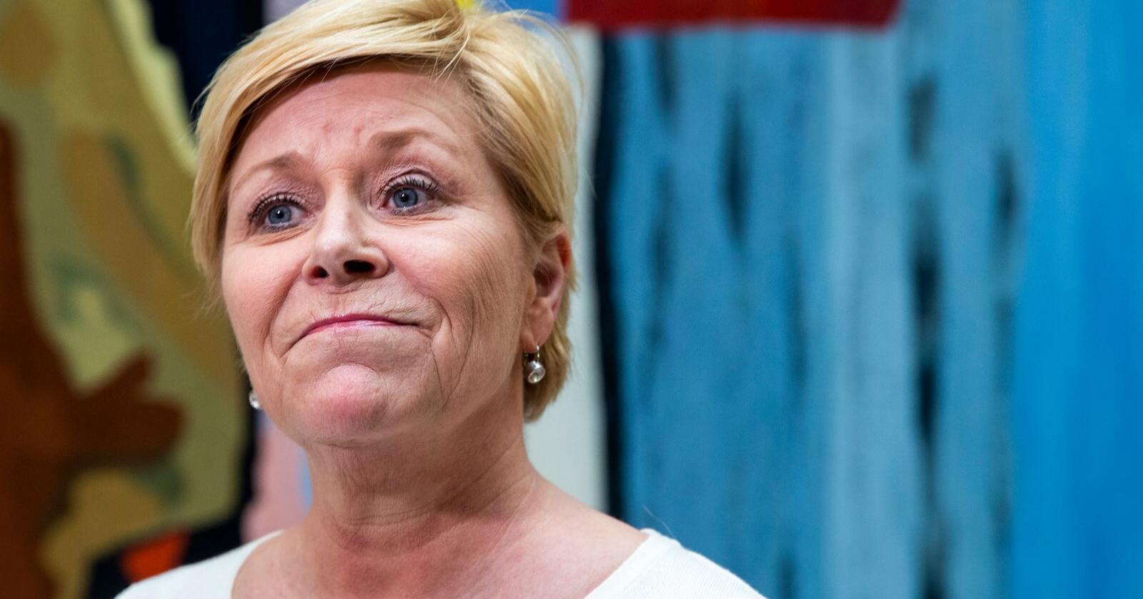 Siv Jensen og Frp faller på Vårt Lands nye partimåling. Foto: Terje Pedersen / NTB scanpix