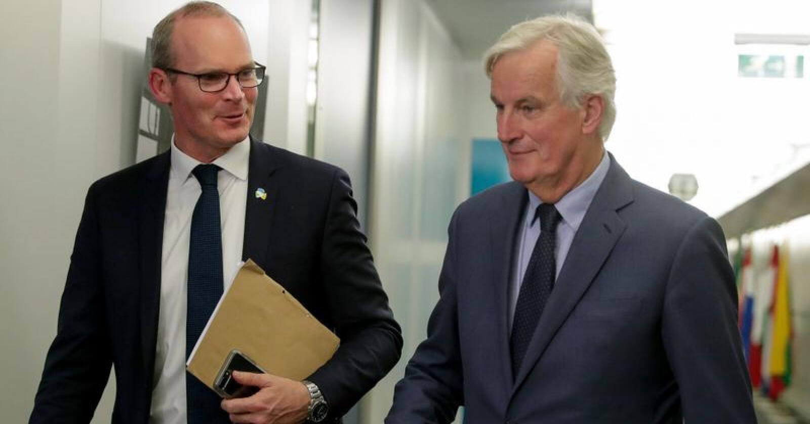 EUs forhandlingsleder Michel Barnier (til høyre) omtaler møtet med Irlands utenriksminister Simon Coveney tirsdag som et godt møte mellom venner. Foto: Stephanie Lecocq, Pool Photo via AP / NTB scanpix