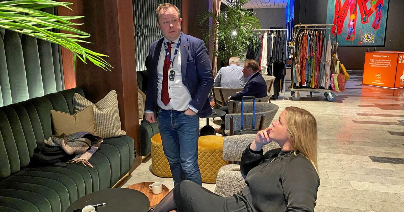 Porsgrunn-ordfører Robin Martin Kåss har ledet forhandingene i KS på vegne av Arbeiderpartiet. Han og partisekretær Kjersti Stenseng går nå kraftig ut mot Senterpartiet. Foto: Sivert Rossing
