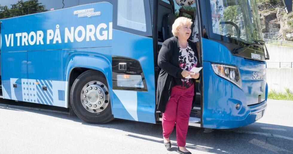 Statsminister Erna Solberg (H) driver nå valgkamp fram mot lokalvalget 9. september. Hun reiser da rundt i landet hun har forandret de siste seks årene. Foto: Terje Pedersen / NTB scanpix