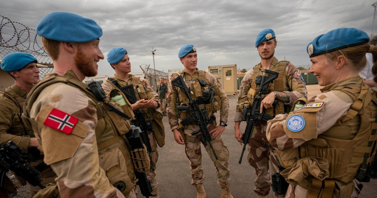 Norske FN-soldater på post i Camp Bifrost i Bamako. De er del av den norske kontigenten som deltar i FNs fredsbevarende operasjon i Mali, MINUSMA.Foto: Heiko Junge / NTB