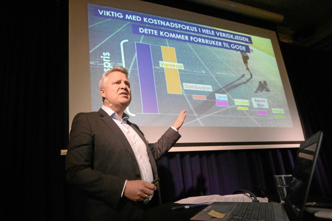 Konserndirektør for innkjøp og kategoriutvikling i Norgesgruppen, Øyvind Andersen, føredrog på daglegvarekonferanse i Oslo måndag. Foto: Siri Juell Rasmussen