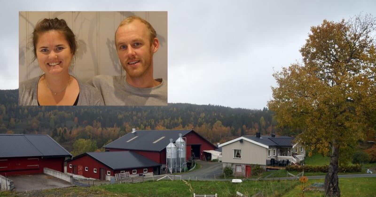 Ingeborg og Torstein Næss driver med smågrisproduksjon, og melkeproduksjon på 200 tonn kvote. Nå starter de også utsalg av melk fra gården. Foto: privat.
