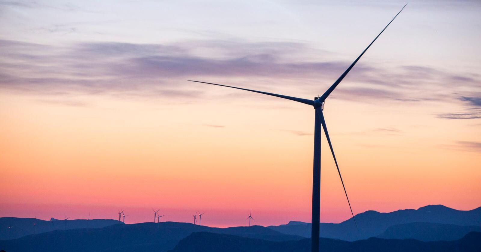 En utbyggingsboom de siste årene har fått vindkraftmotstanden i Norge til å ta seg kraftig opp. Nå skal Stortinget ta stilling til et forslag om innstramminger i konsesjonsreglene. Bildet viser Guleslettene vindpark like ved Florø. Foto: Tore Meek / NTB