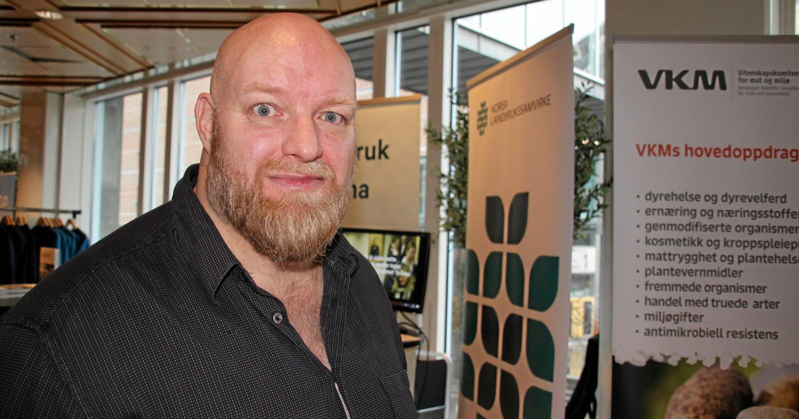 Ole Petter Nyhaug, partner i Opinion, snakka om framtiads mattrender under årets Mat og Landbruk 2020. Foto: Andrea Sofie Aasvang