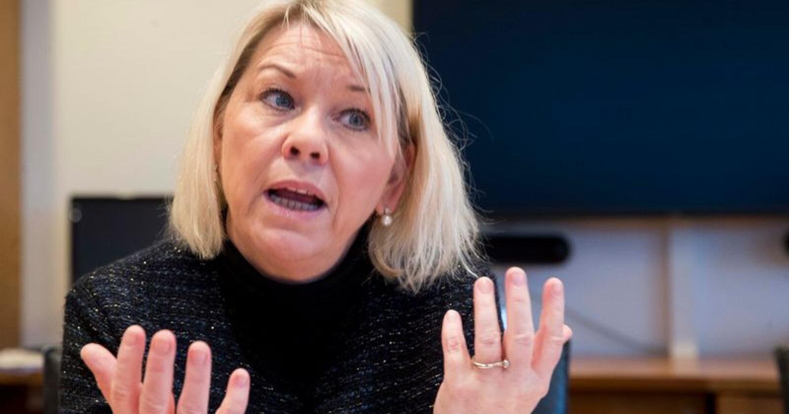 Kommunal- og moderniseringsminister Monica Mæland sier saken om Eidfjord Resort har vært vanskelig, men at departementet mener utbyggingen vil skape ny økonomisk aktivitet for kommunen. Foto: Terje Pedersen / NTB scanpix